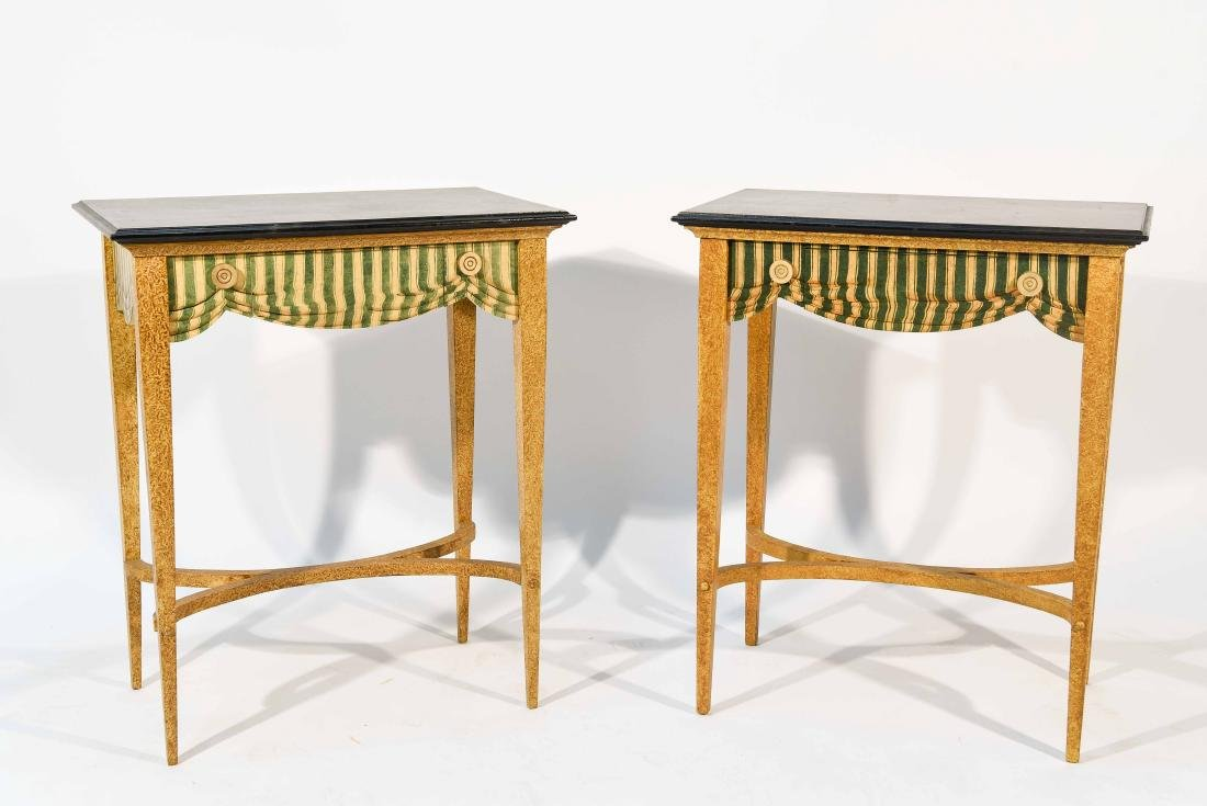 PAIR FAUX PAINTED SIDE TABLES