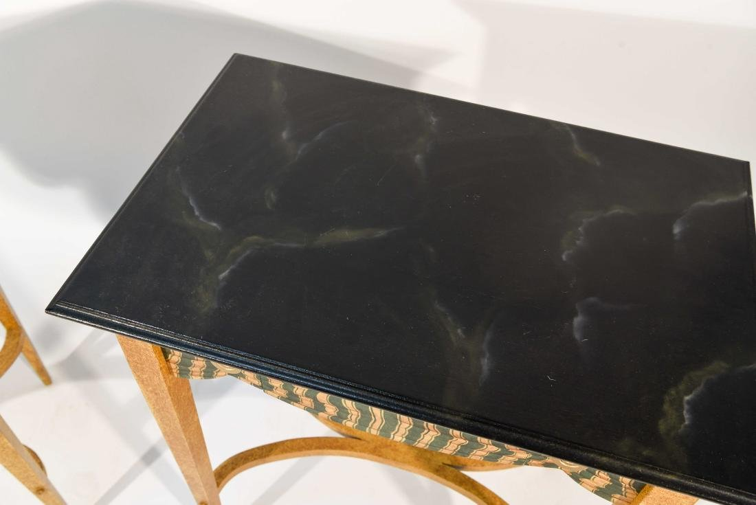 PAIR FAUX PAINTED SIDE TABLES - 2