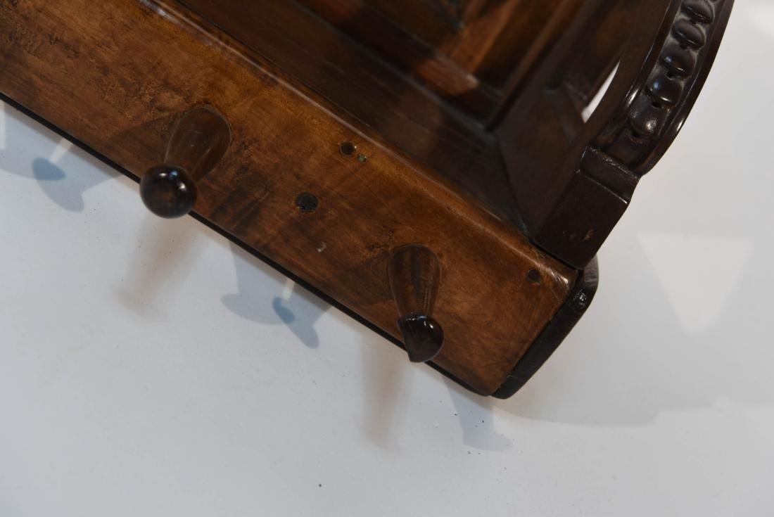 CARVED WOOD ART NOUVEAU COAT RACK - 5