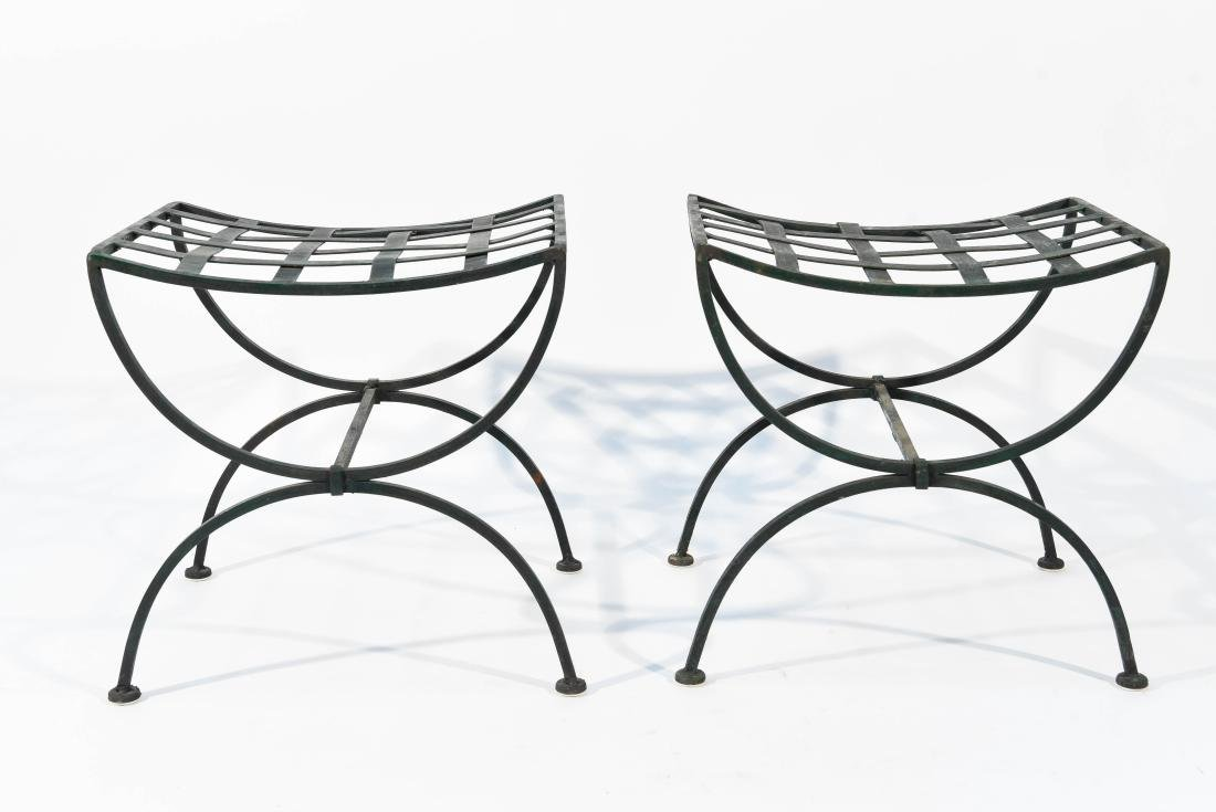 PAIR OF OUTDOOR IRON SEATS / BENCHES