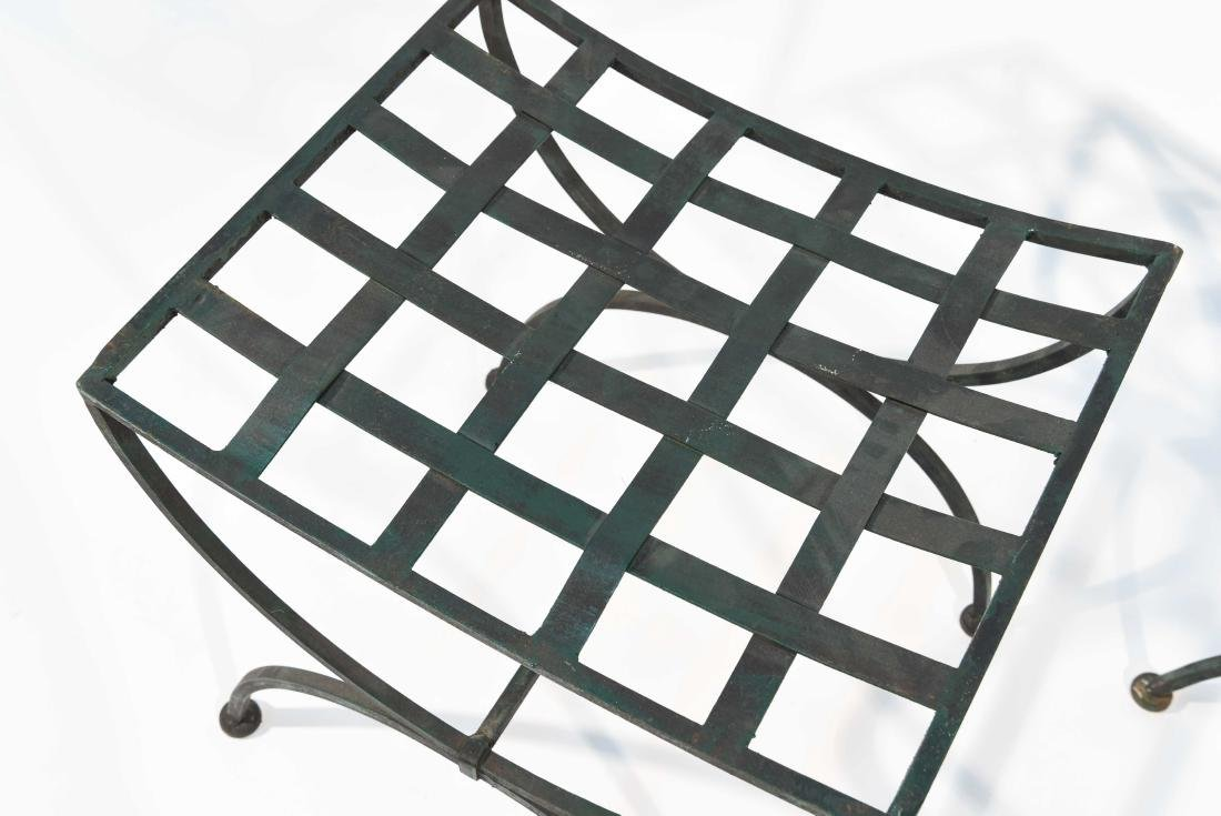 PAIR OF OUTDOOR IRON SEATS / BENCHES - 2