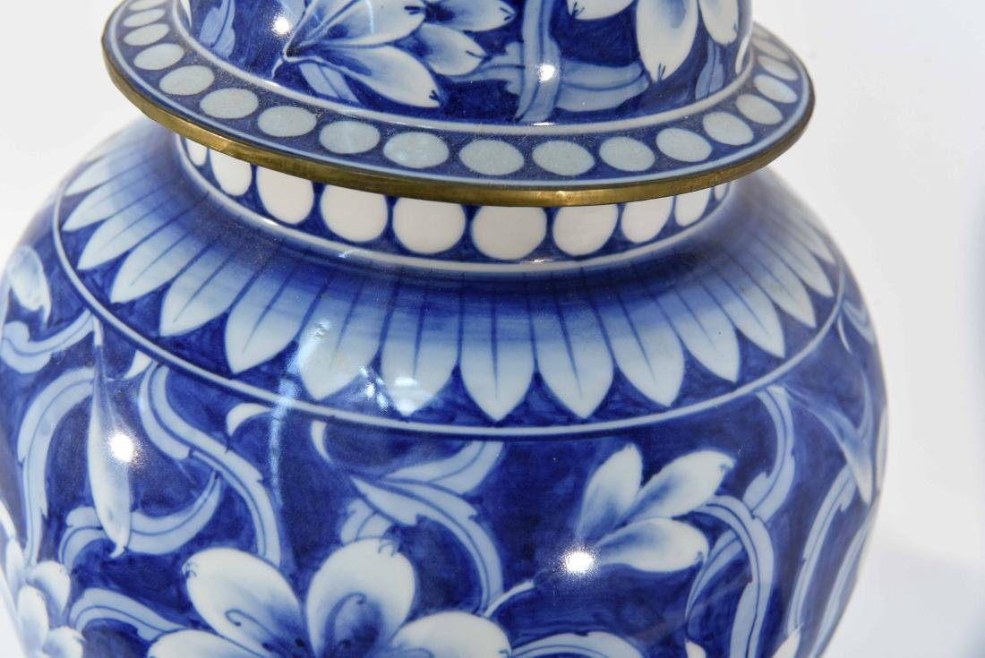 PAIR OF CHINESE BLUE & WHITE PORCELAIN COVER URNS - 10