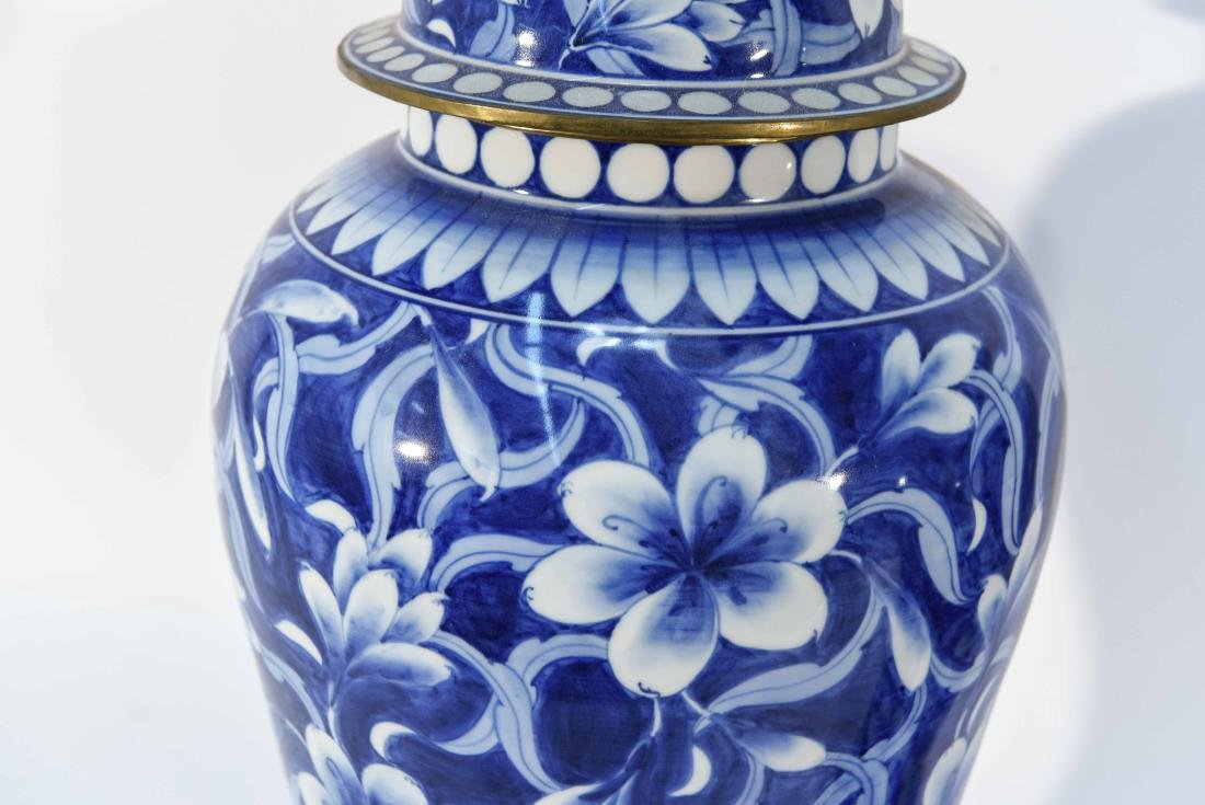 PAIR OF CHINESE BLUE & WHITE PORCELAIN COVER URNS - 3