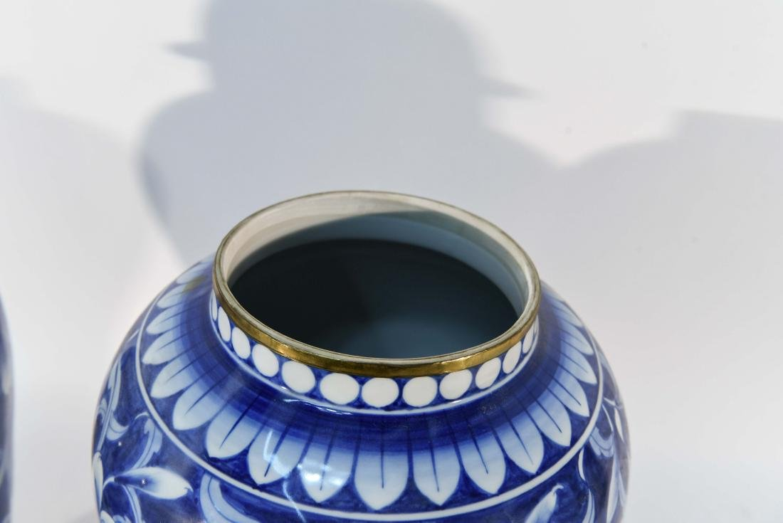 PAIR OF CHINESE BLUE & WHITE PORCELAIN COVER URNS - 6