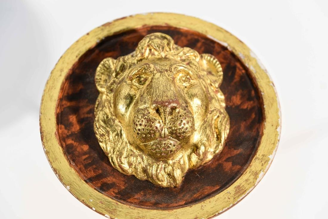 (4) BRASS AND WOOD TIE BACKS WITH LION HEADS - 6