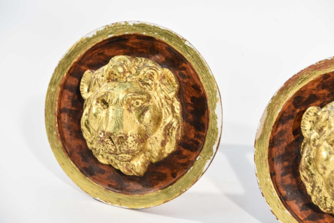 (4) BRASS AND WOOD TIE BACKS WITH LION HEADS - 7