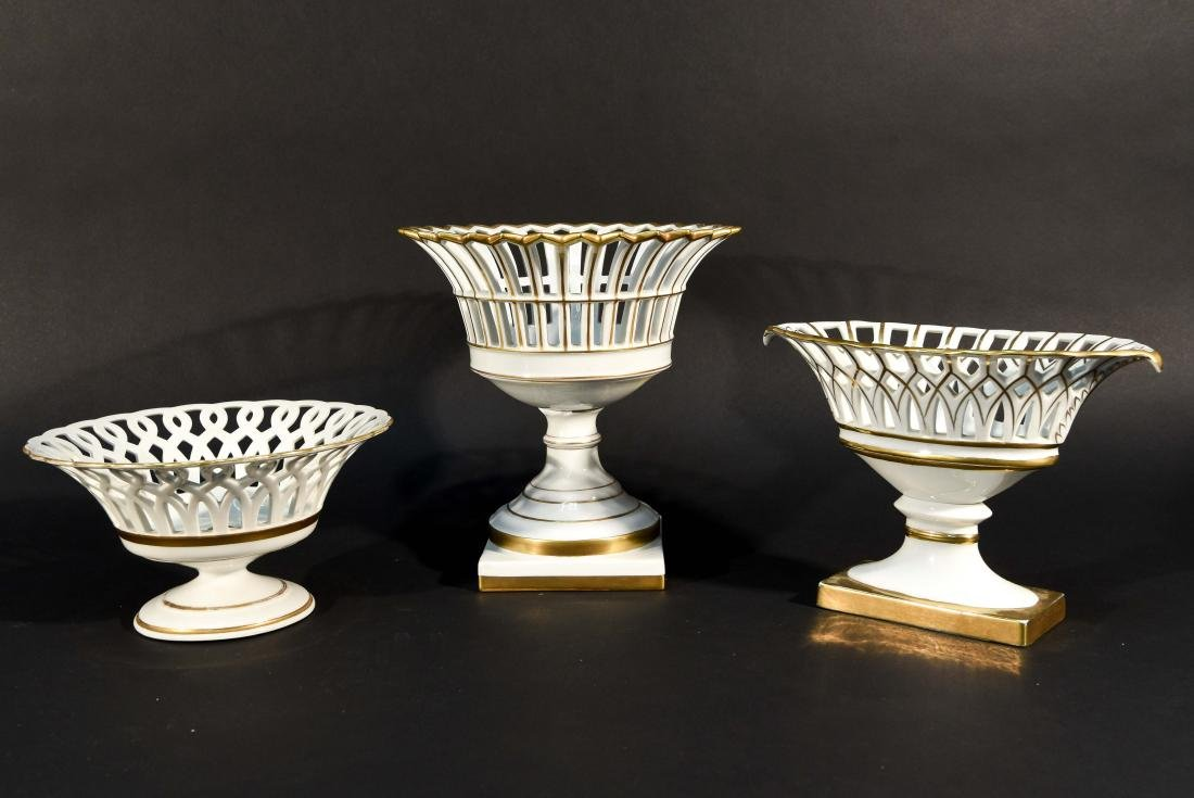LIMOGES RETICULATED PORCELAIN TAZZAS