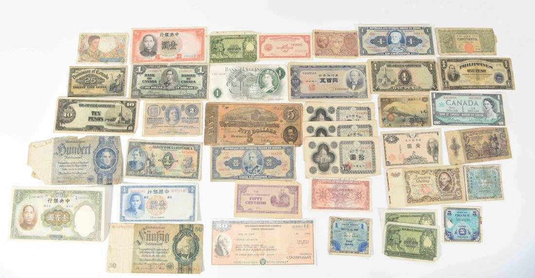 GROUPING OF VINTAGE BANK NOTES, ETC.
