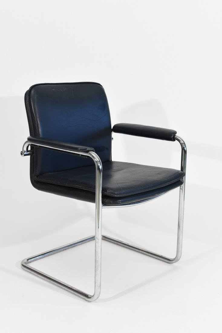 MID CENTURY CHROME AND LEATHER CHAIR