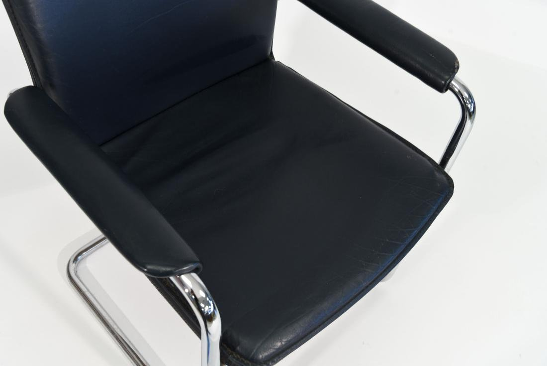 MID CENTURY CHROME AND LEATHER CHAIR - 3