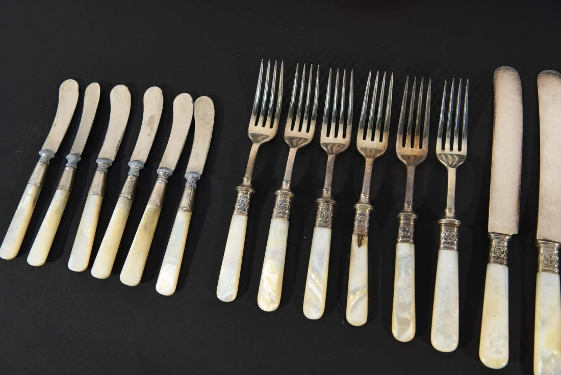 STERLING SILVER & MOTHER OF PEARL CUTLERY - 10
