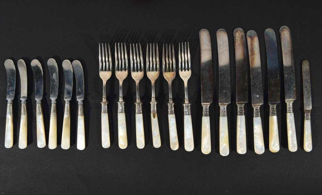 STERLING SILVER & MOTHER OF PEARL CUTLERY