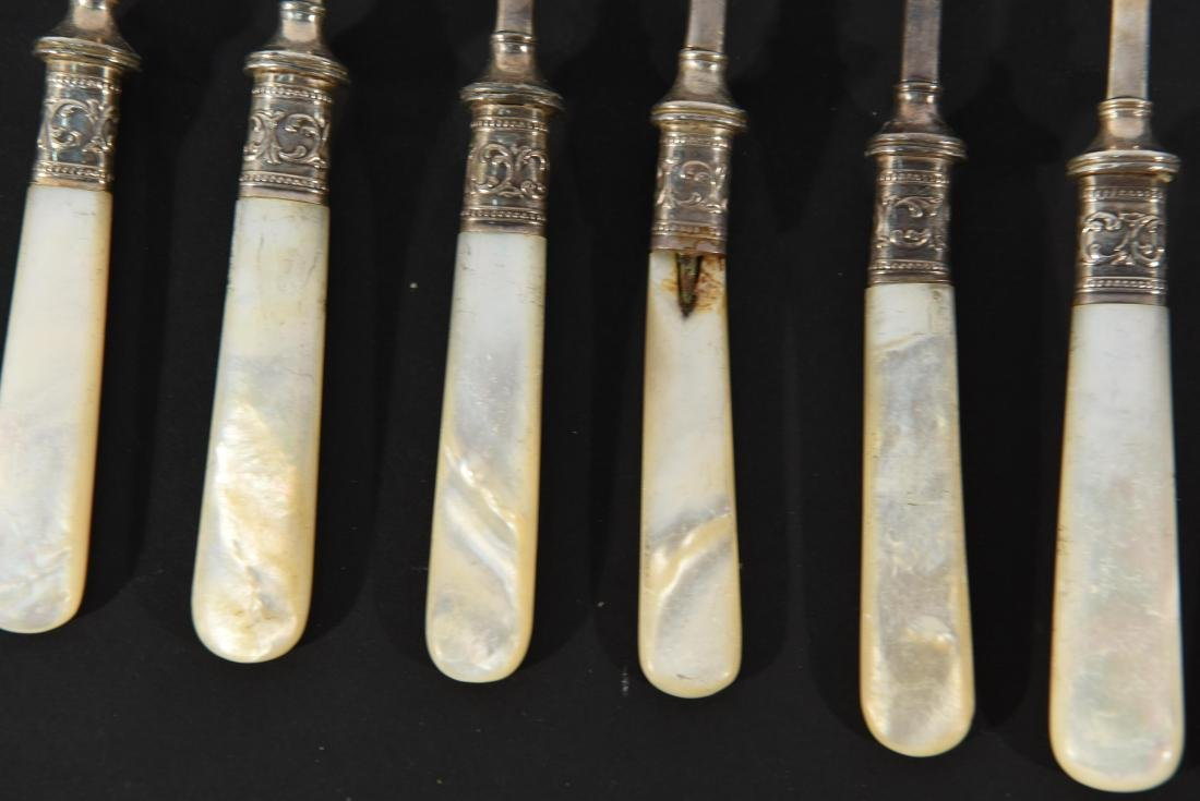 STERLING SILVER & MOTHER OF PEARL CUTLERY - 6