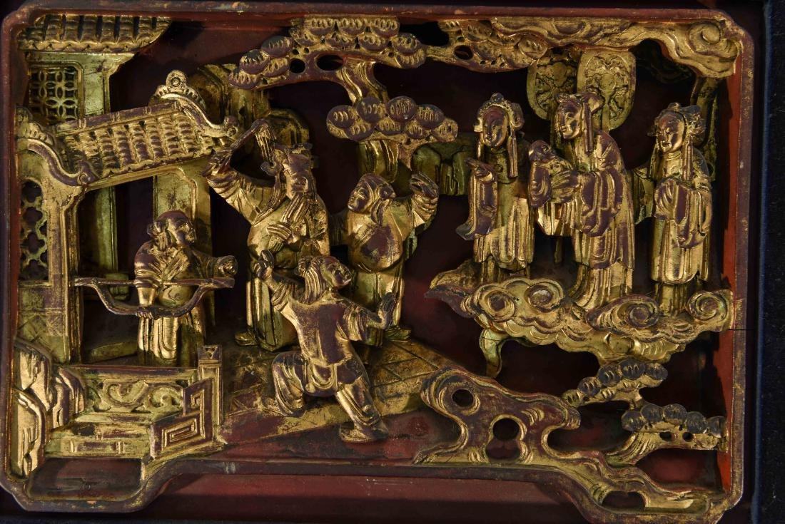 CHINESE CARVED WOOD PANEL - 2