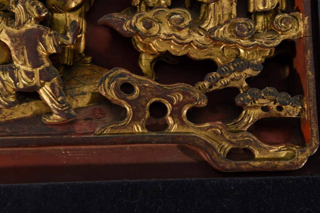 CHINESE CARVED WOOD PANEL - 4