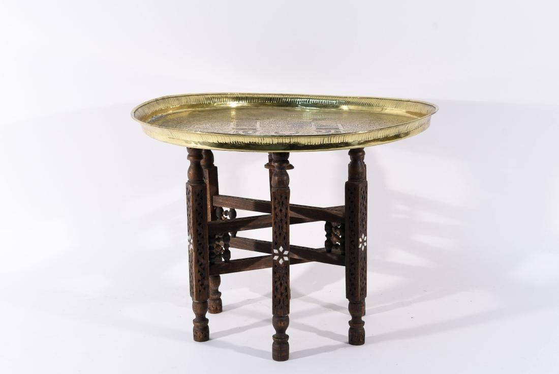 MIDDLE EASTERN BRASS TRAY & STAND