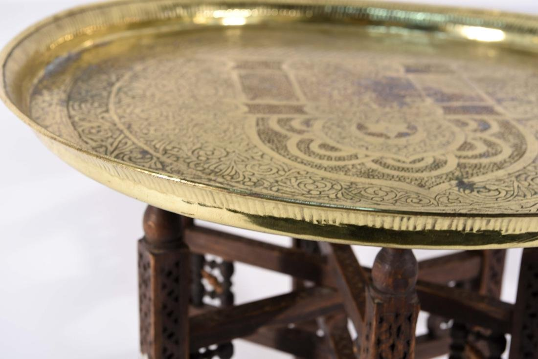 MIDDLE EASTERN BRASS TRAY & STAND - 3