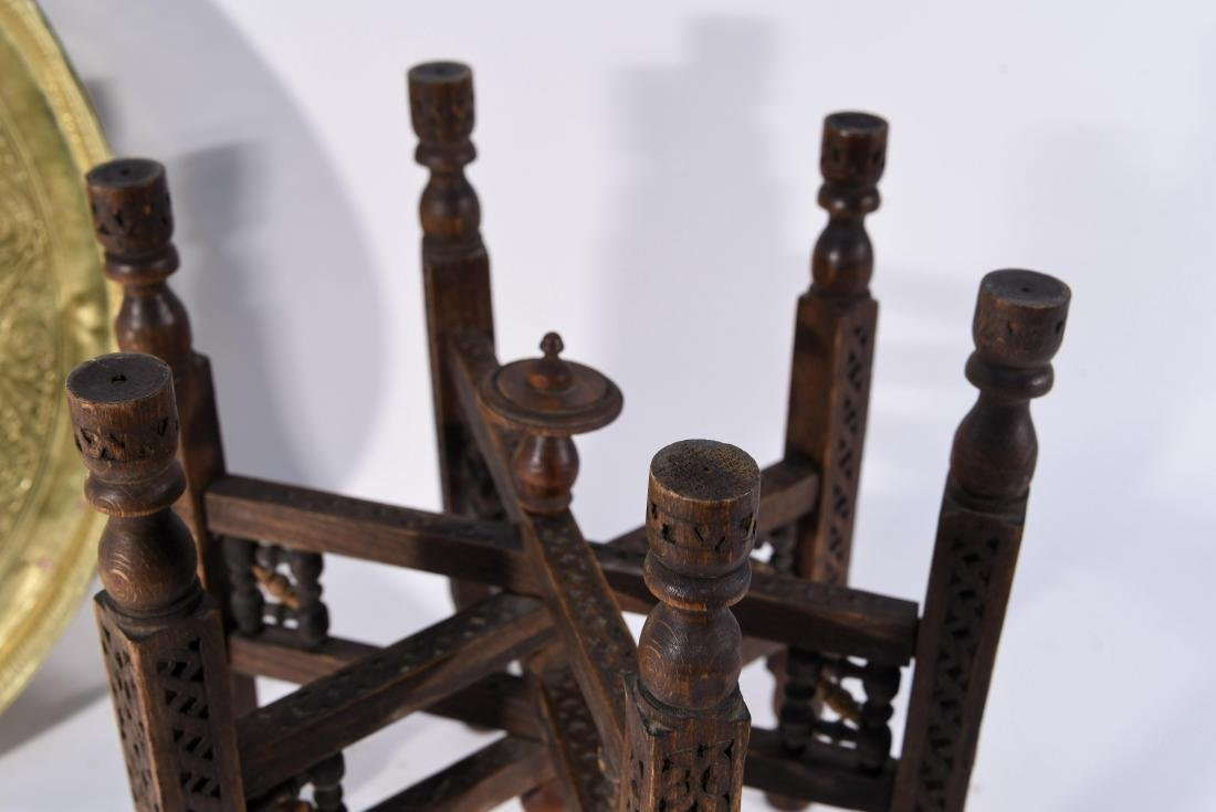MIDDLE EASTERN BRASS TRAY & STAND - 6