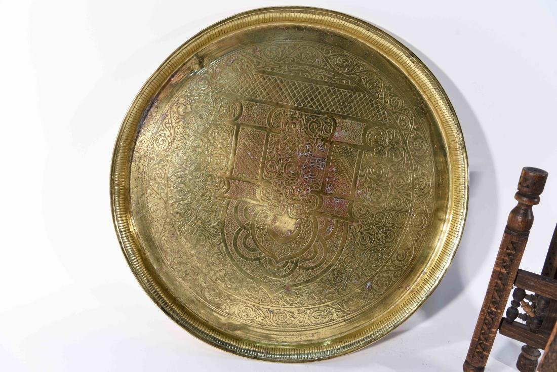 MIDDLE EASTERN BRASS TRAY & STAND - 8