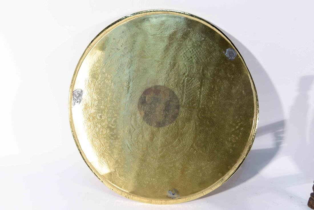 MIDDLE EASTERN BRASS TRAY & STAND - 9