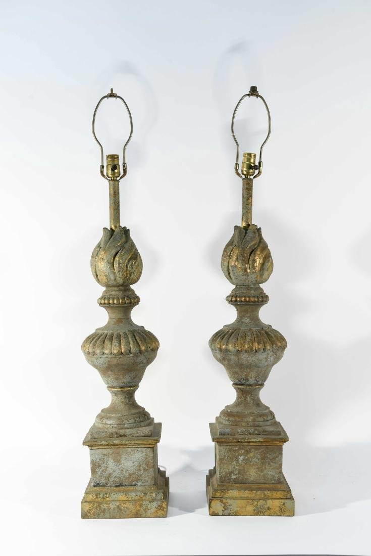 PAIR OF CEMENT LAMPS