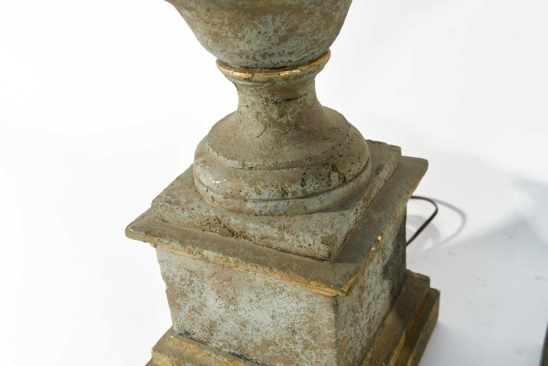 PAIR OF CEMENT LAMPS - 6