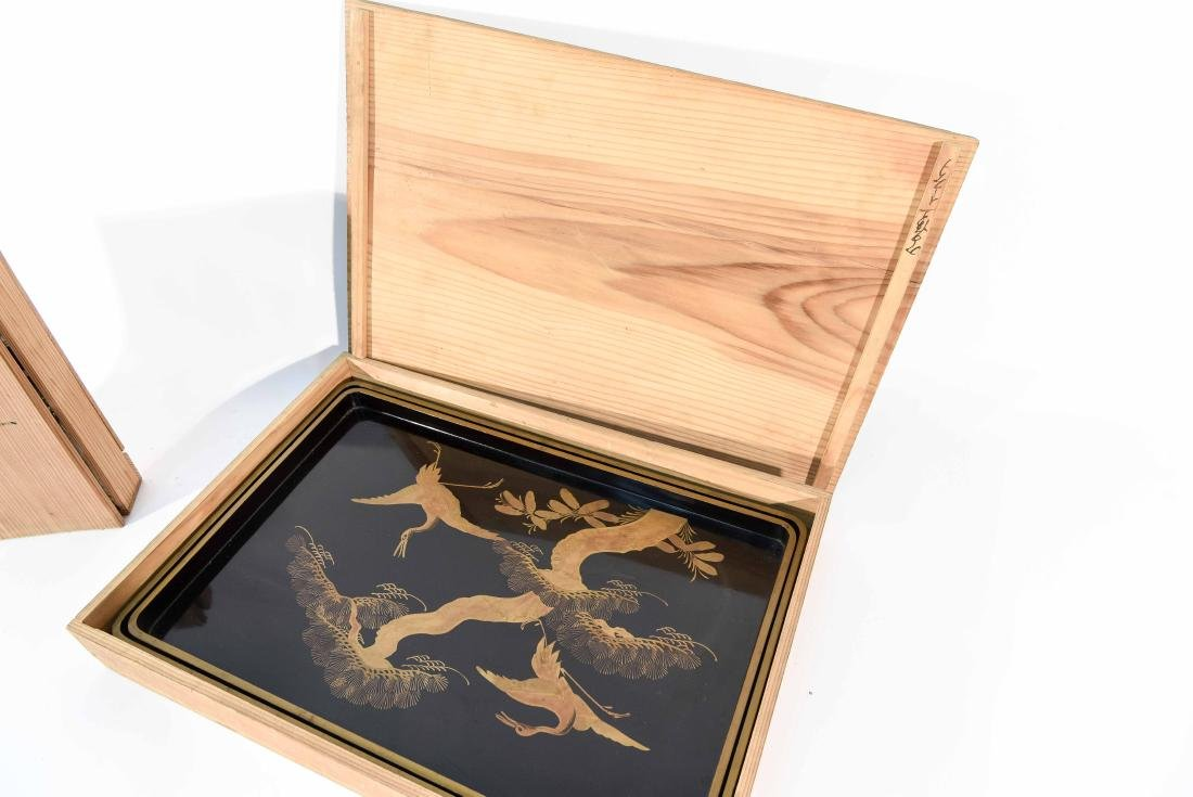 (2) BOXED JAPANESE LACQUER TRAYS - 11
