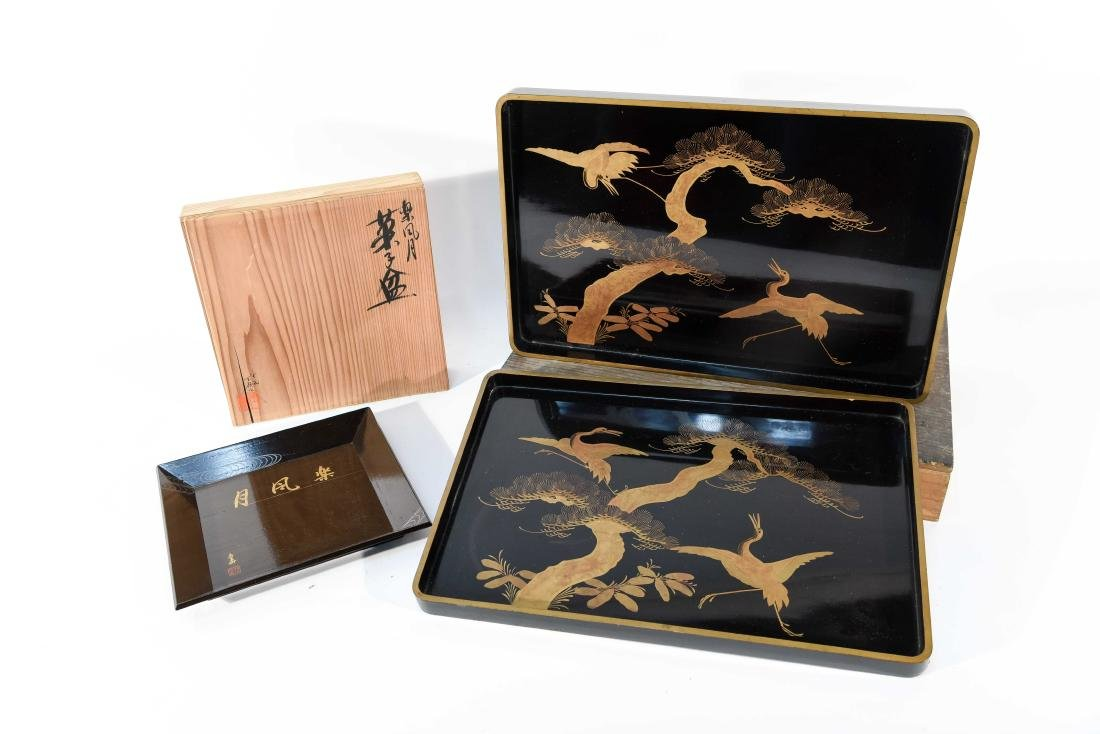 (2) BOXED JAPANESE LACQUER TRAYS