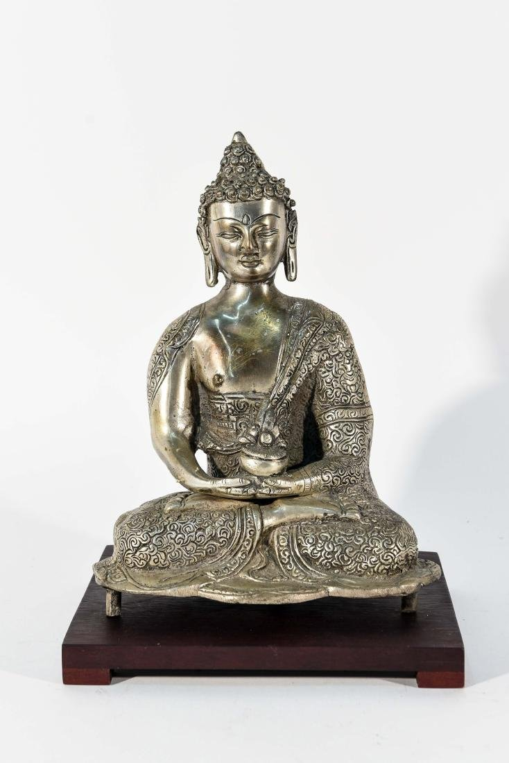 SEATED BRASS BUDDHA SCULPTURE