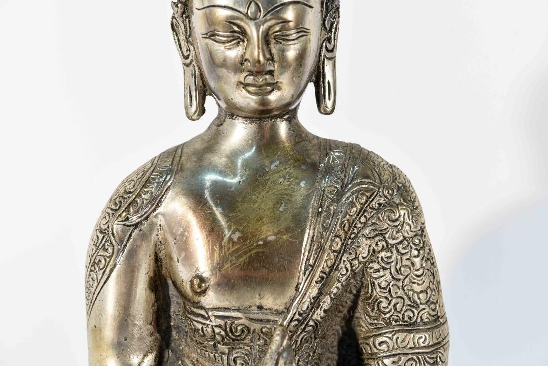 SEATED BRASS BUDDHA SCULPTURE - 3