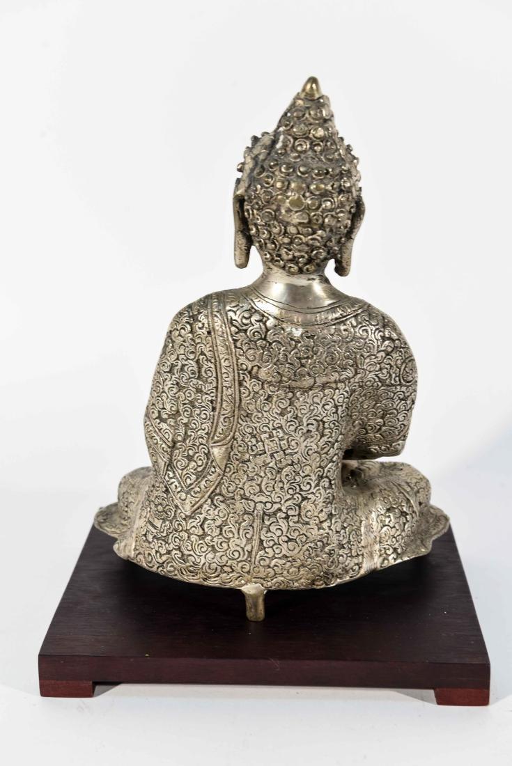 SEATED BRASS BUDDHA SCULPTURE - 6