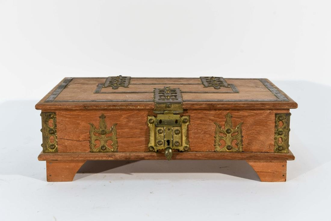 SMALL WOOD AND BRASS BOX