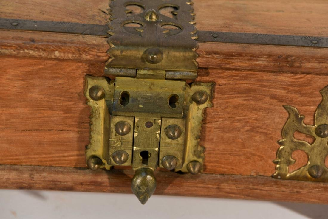 SMALL WOOD AND BRASS BOX - 2