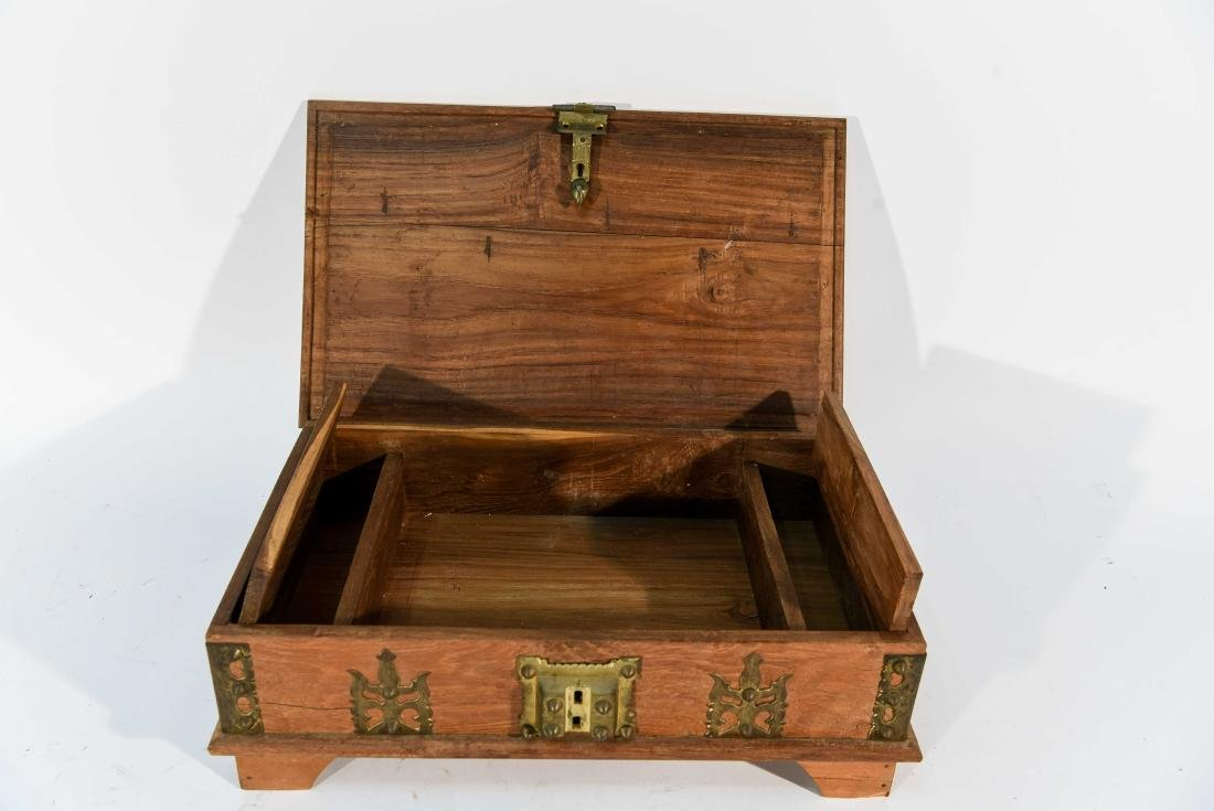 SMALL WOOD AND BRASS BOX - 4