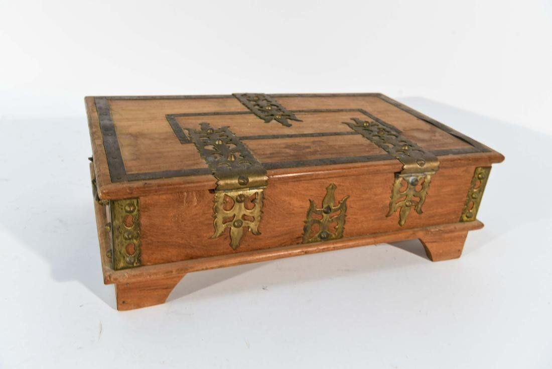 SMALL WOOD AND BRASS BOX - 7