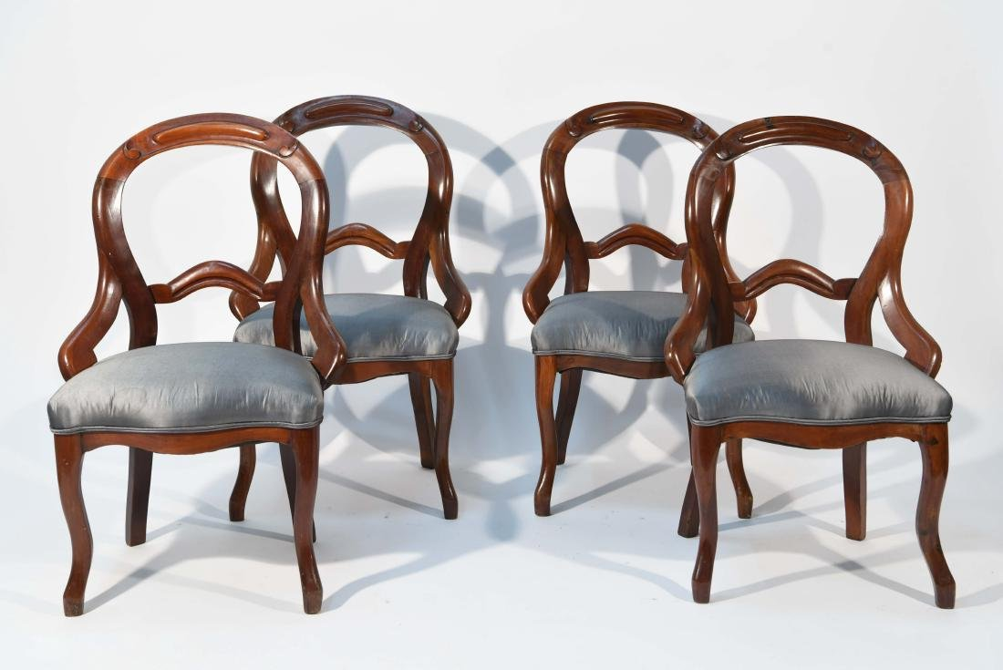 (4) VICTORIAN AMERICAN BALLOON BACK CHAIRS