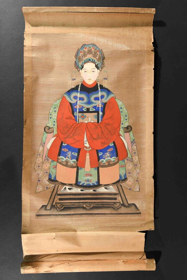 ANTIQUE CHINESE ANCESTOR PAINTING SCROLL