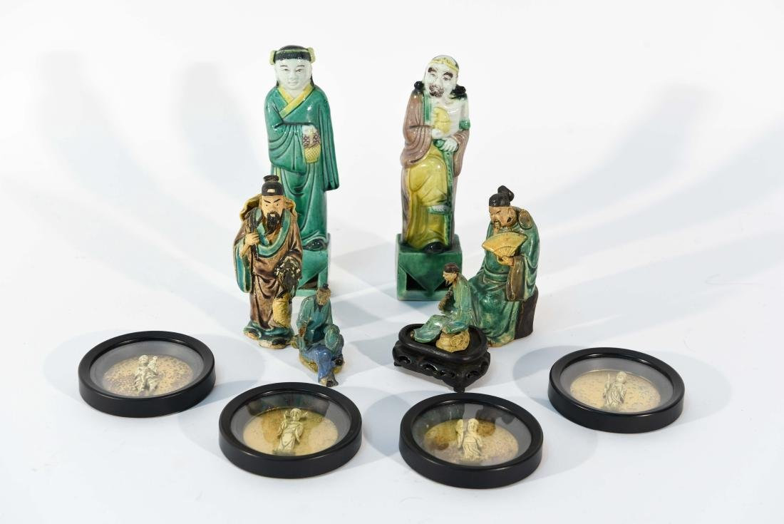 GROUPING OF CHINESE MUD MEN & FIGURAL COASTERS