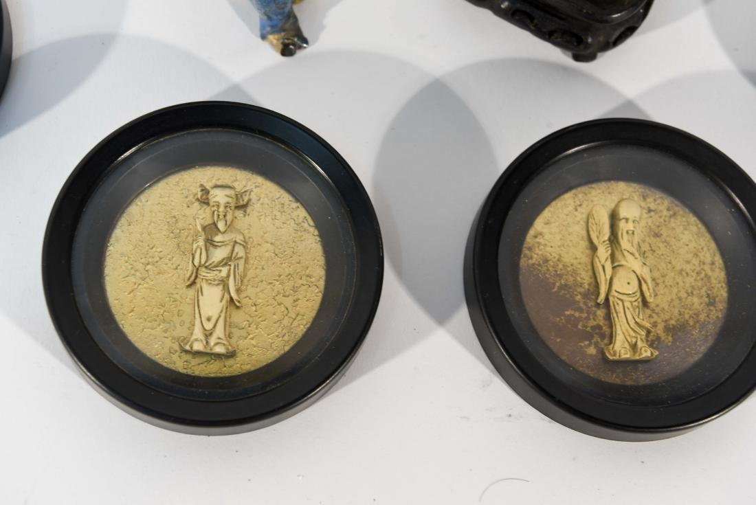 GROUPING OF CHINESE MUD MEN & FIGURAL COASTERS - 3