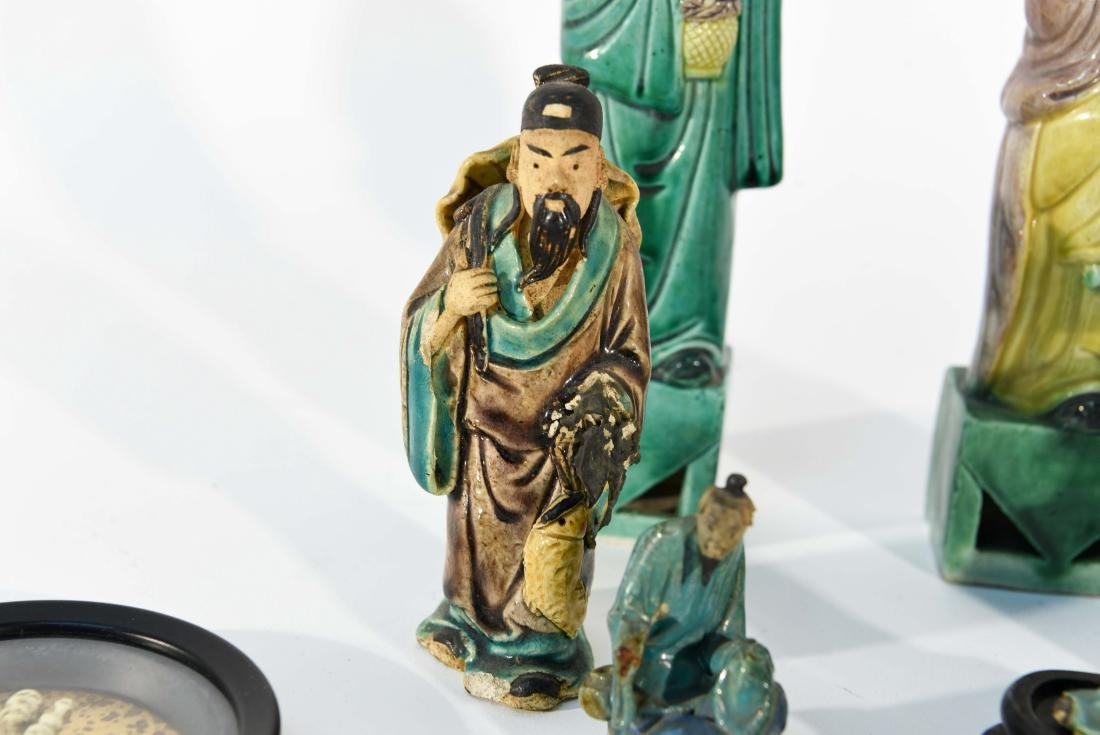 GROUPING OF CHINESE MUD MEN & FIGURAL COASTERS - 5