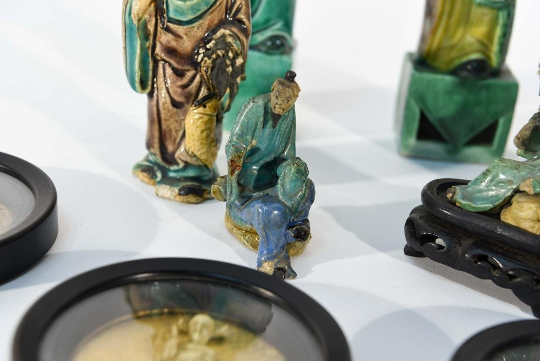 GROUPING OF CHINESE MUD MEN & FIGURAL COASTERS - 6