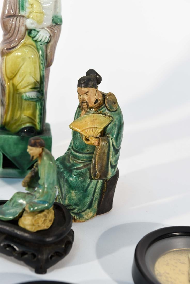 GROUPING OF CHINESE MUD MEN & FIGURAL COASTERS - 9