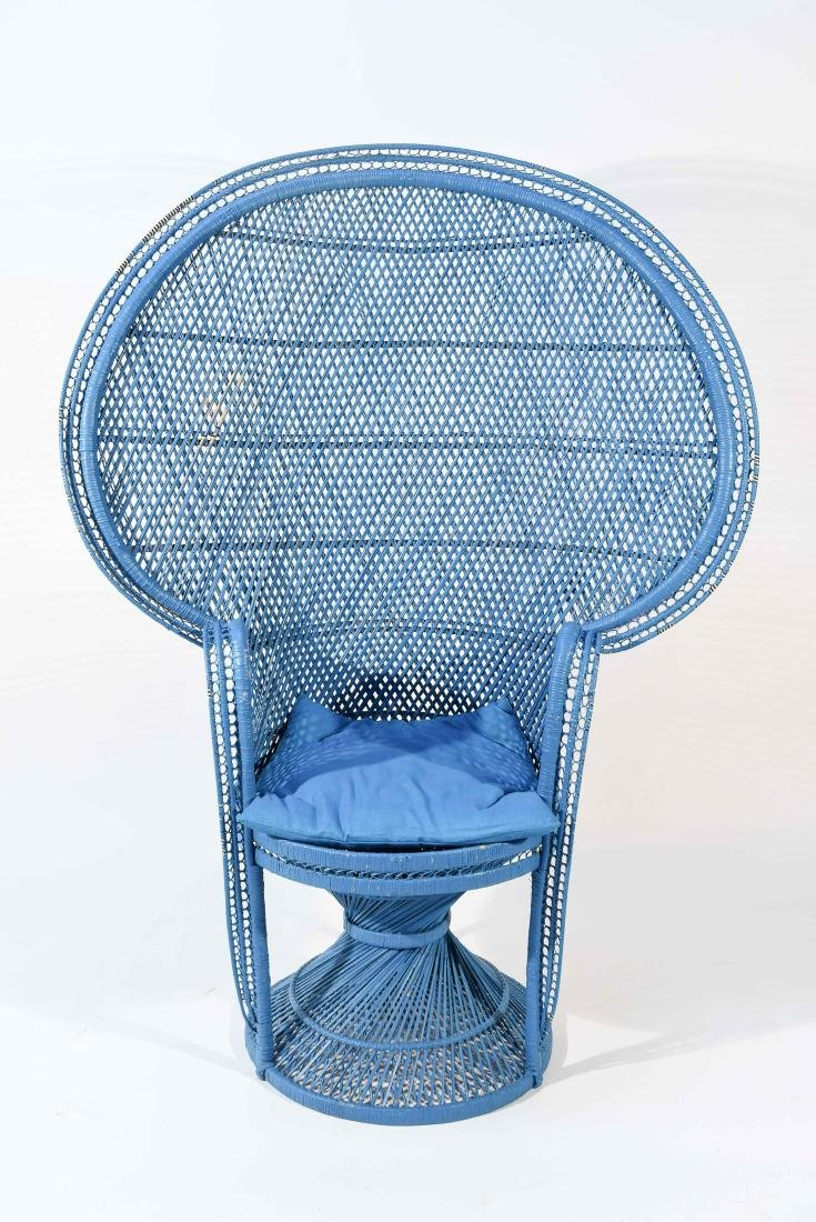 LARGE BLUE PEACOCK THRONE WICKER CHAIR