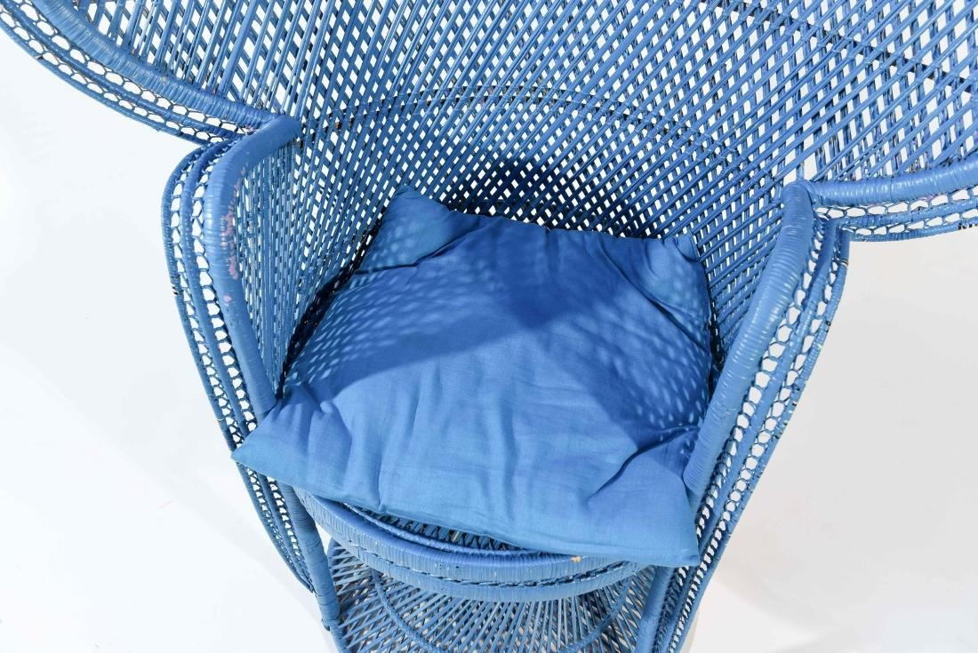 LARGE BLUE PEACOCK THRONE WICKER CHAIR - 3