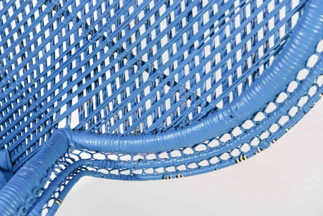 LARGE BLUE PEACOCK THRONE WICKER CHAIR - 4
