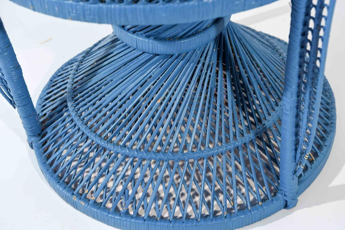 LARGE BLUE PEACOCK THRONE WICKER CHAIR - 7