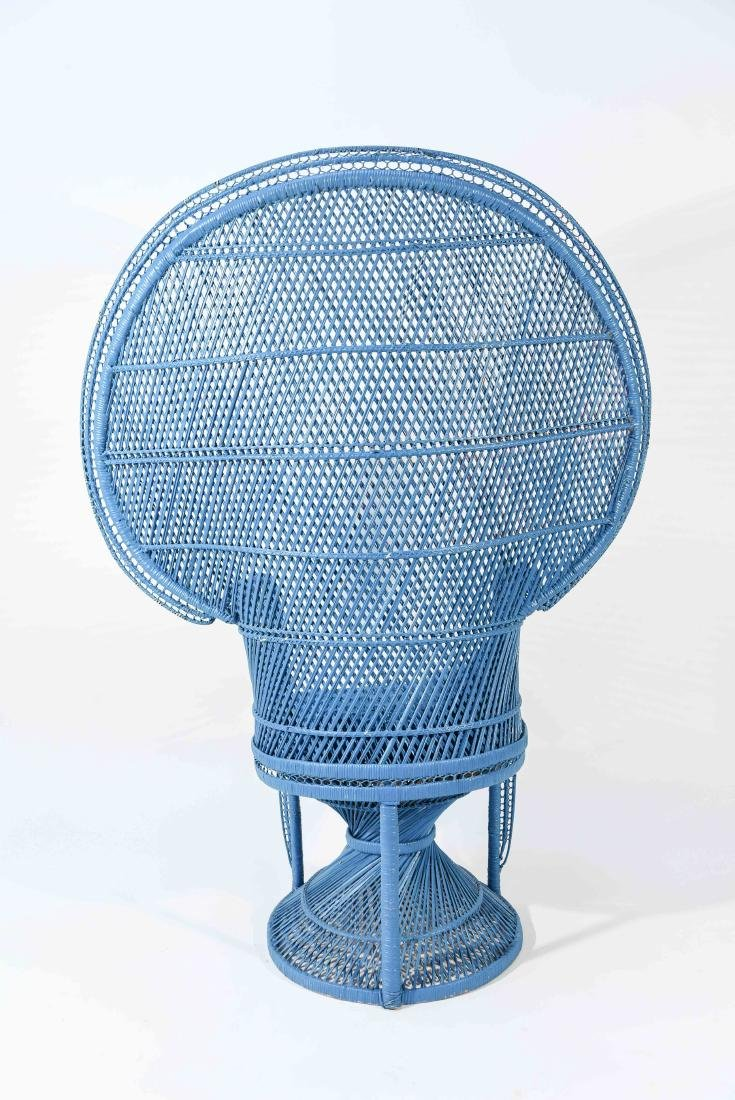 LARGE BLUE PEACOCK THRONE WICKER CHAIR - 8