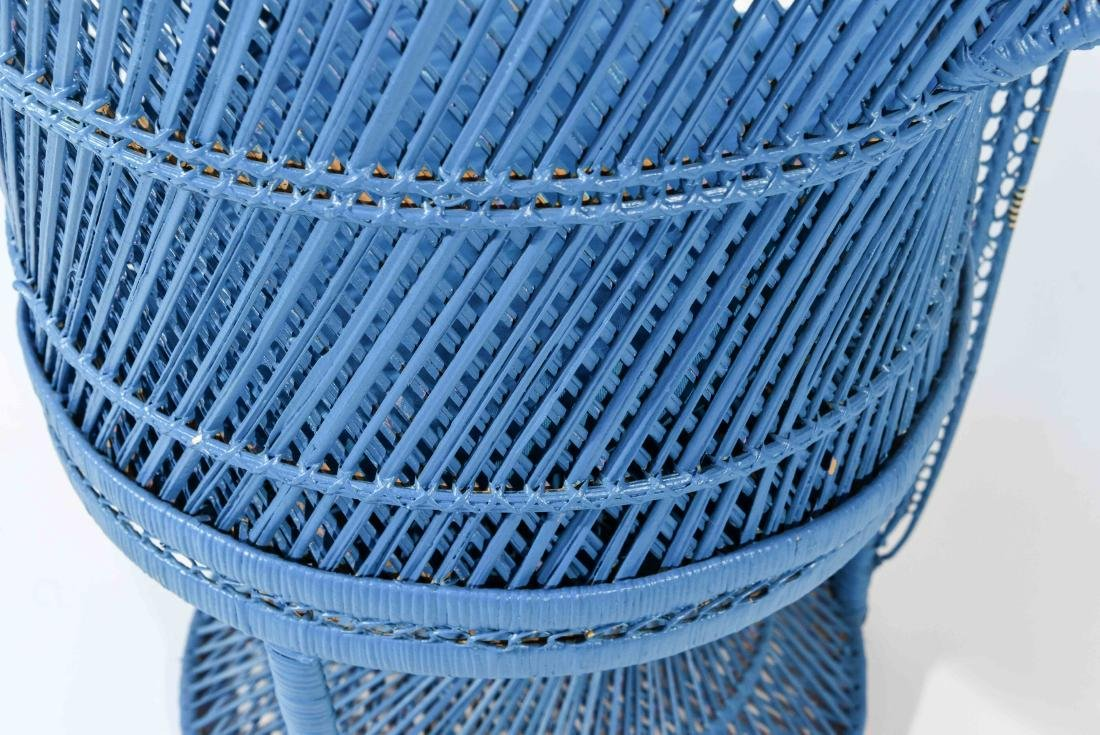 LARGE BLUE PEACOCK THRONE WICKER CHAIR - 9