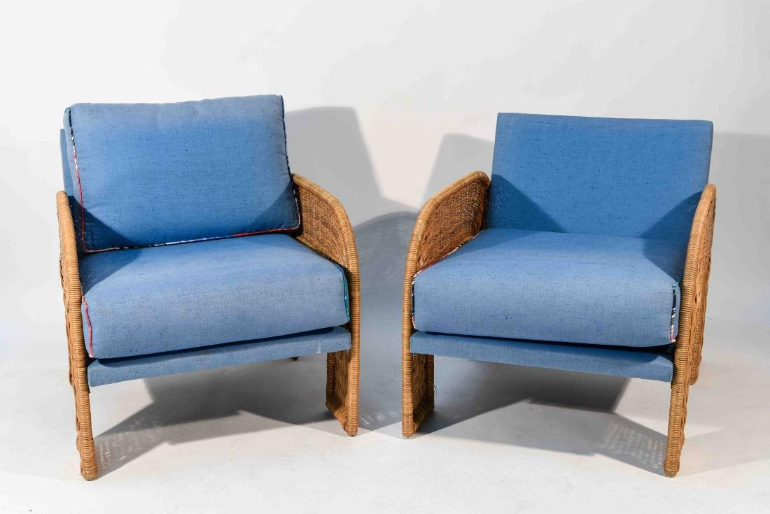 PAIR OF WICKER & BLUE UPHOLSTERED CHAIRS