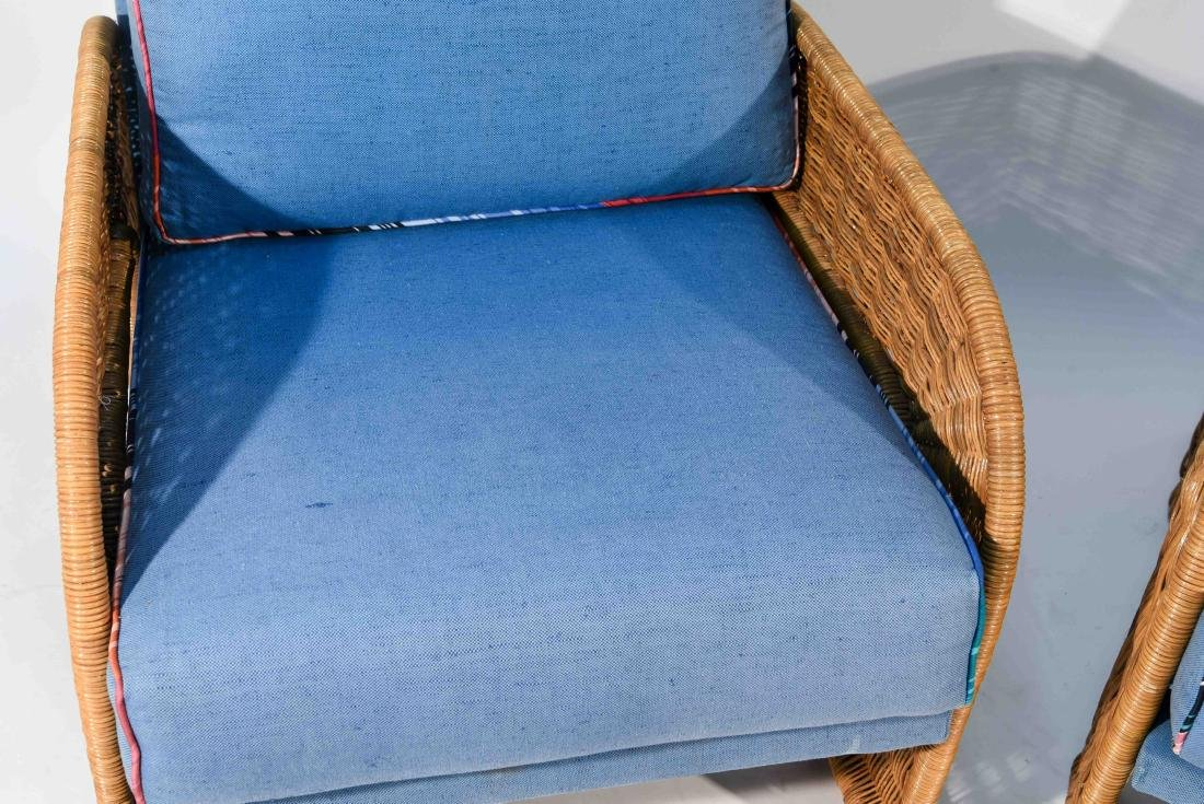 PAIR OF WICKER & BLUE UPHOLSTERED CHAIRS - 2